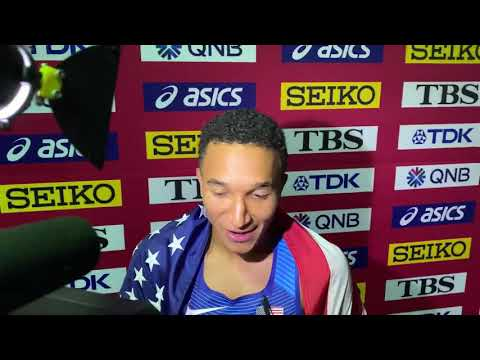 Donavan Brazier after breaking American Record and winning gold in Doha