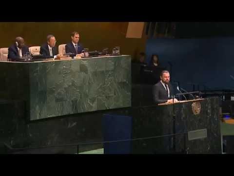 Leonardo DiCaprio Calls on UN to Combat Climate Change