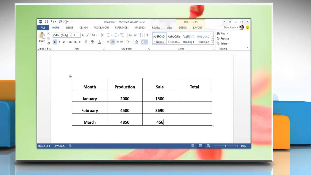 How to create formula in tables in a microsoft word 2013 for Table design on word