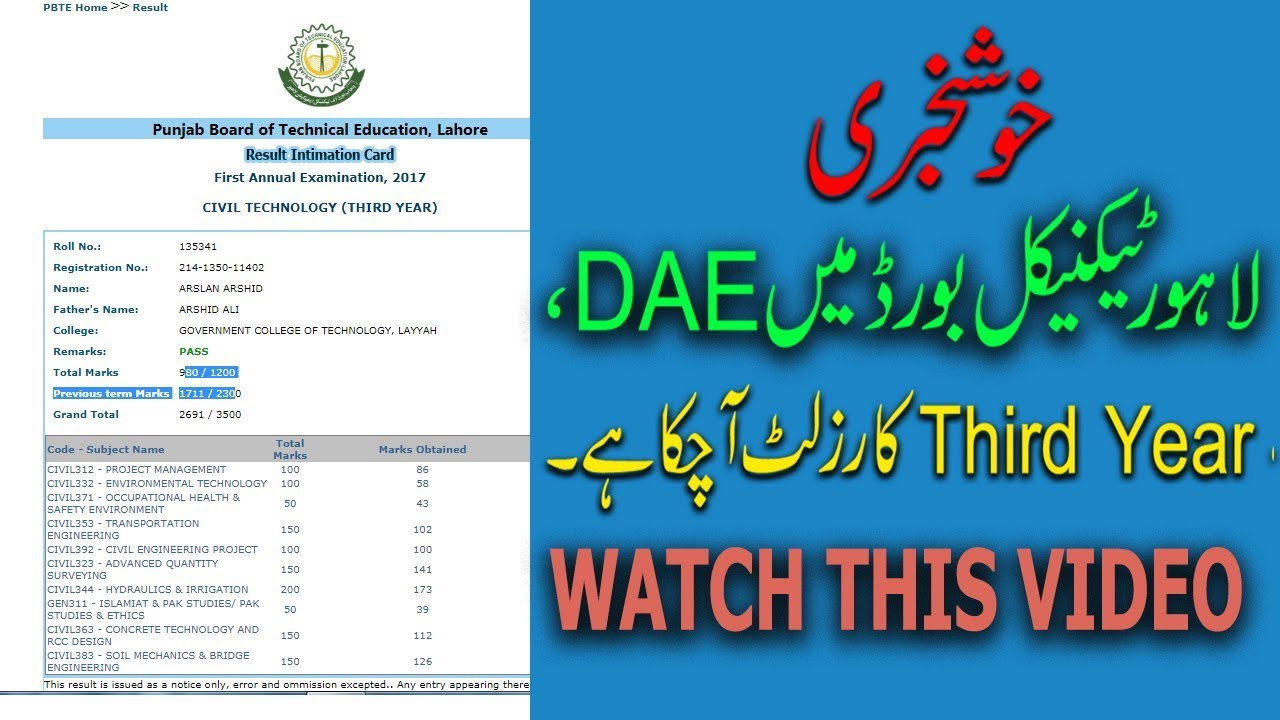 DAE Third Year Result Issued in Punjab Board of Technical Education