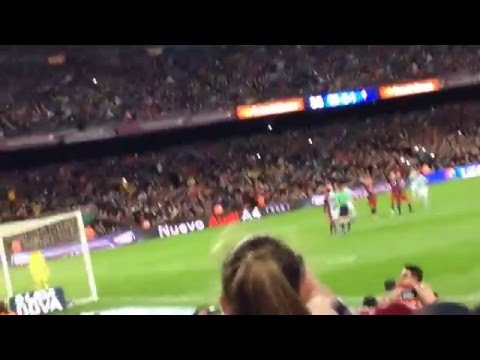Messi penalty pass to Suarez - View from behind goal with buildup to penalty