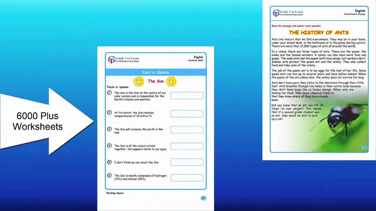 Grade 4 English Worksheets   Class 4  6000 plus Math \u0026 English Worksheets   www.grade1to6.com - YouTube [ 720 x 1280 Pixel ]