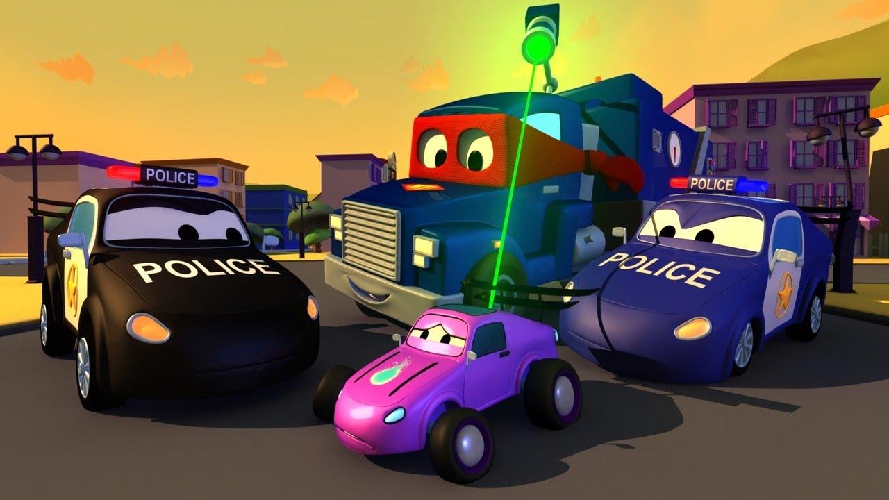 desene cu camioane pentru copii -  Camioane de politie - Super Camionul Carl în Orasul Masinilor ? ⍟