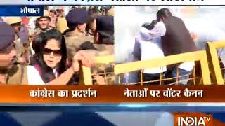 Madhya Pradesh: Police lathi charge on Congress workers protesting in Bhopal