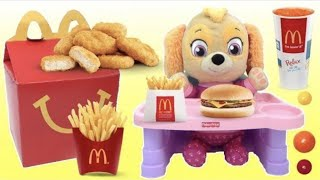 BABY Skye PAW PATROL Eats McDonald's Happy Meal
