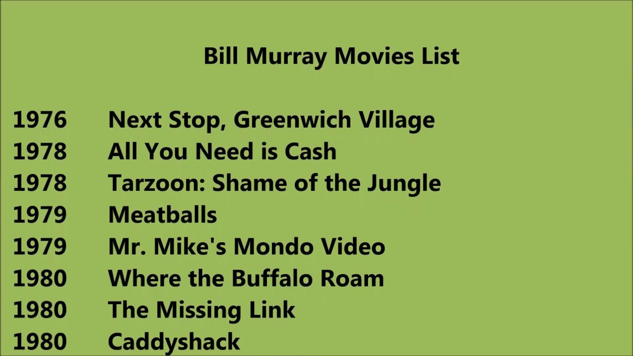 bill murray movies list youtube