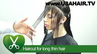 Haircut for long thin hair. parikmaxer TV USA