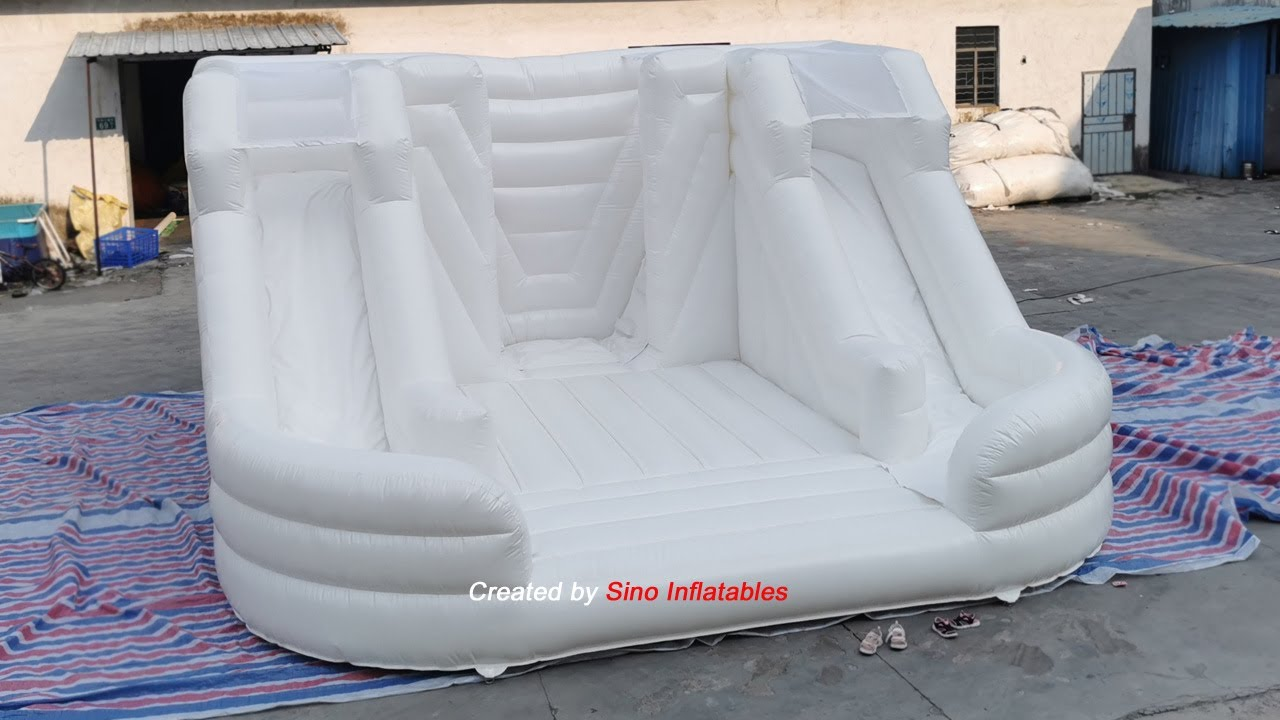 Commercial grade kids all white inflatable jumping castle for family party fun and adults wedding