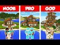 Minecraft NOOB vs PRO vs GOD: TROPICAL FAMILY HOUSE BUILD CHALLENGE in Minecraft / Animation