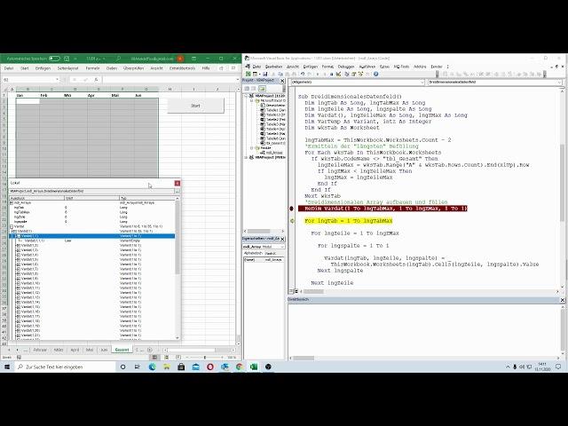 206: Excel-VBA: Coole Technik:  Alle Daten der Mappe in einem 3D-Array speichern und wieder ausgeben