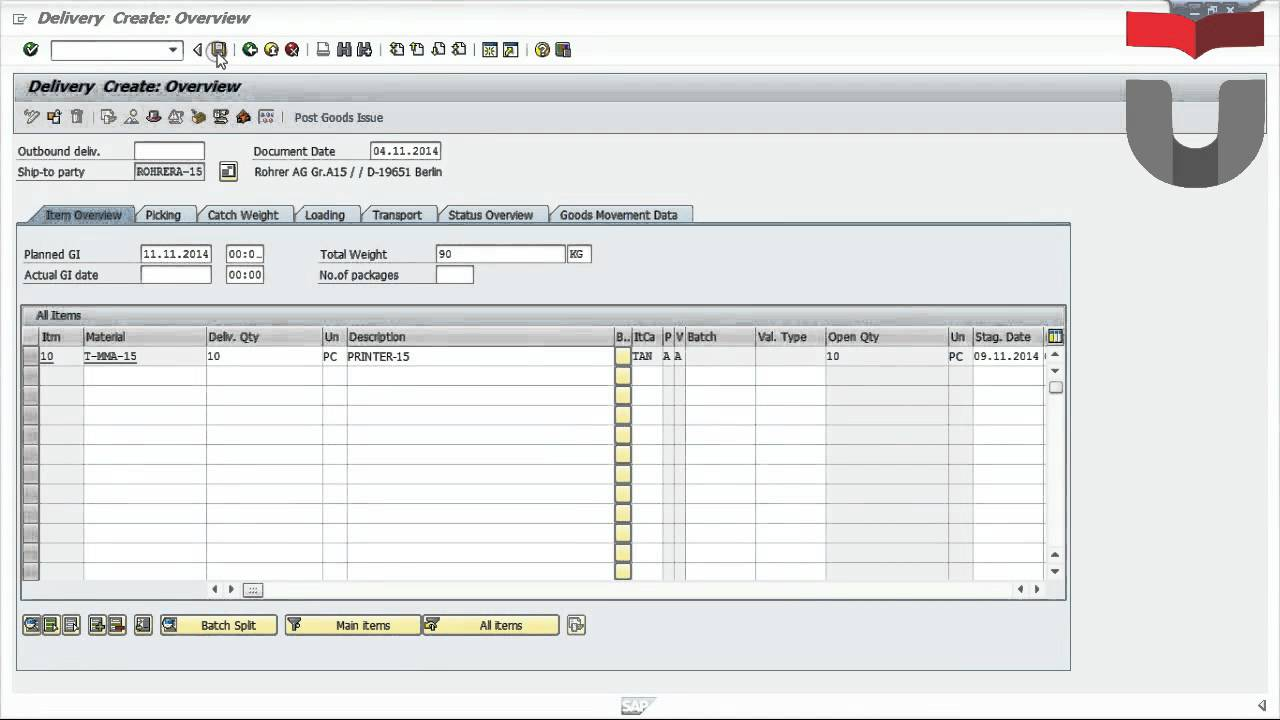 Create Outbound Delivery and Posting Goods Issue