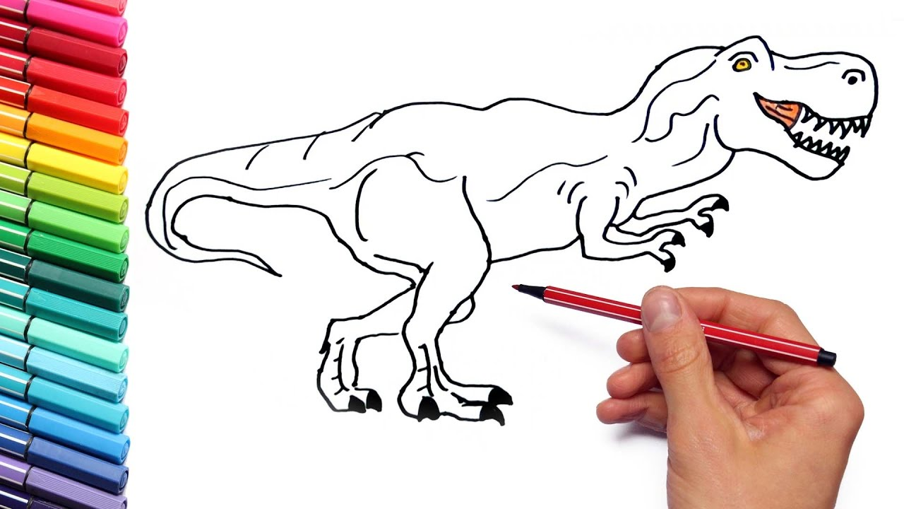how to draw t rex for kids drawing and coloring dinosaur with color markers