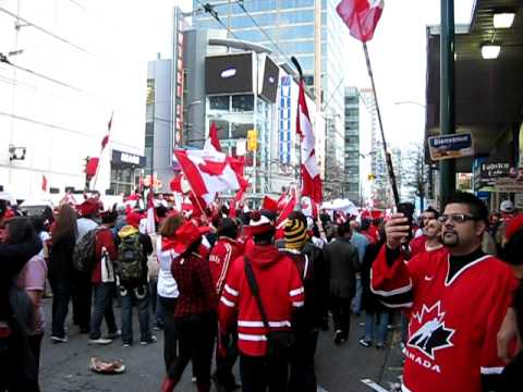 Celebration at Robson Square in Vancouver after Team Canada Men's Gold Medal Hockey victory