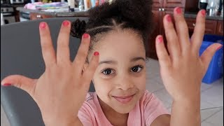 3 Year Old Cali Puts Nail Polish on by Herself