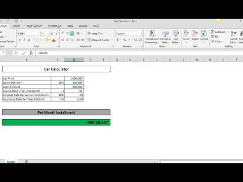 lease calculator on excel youtube