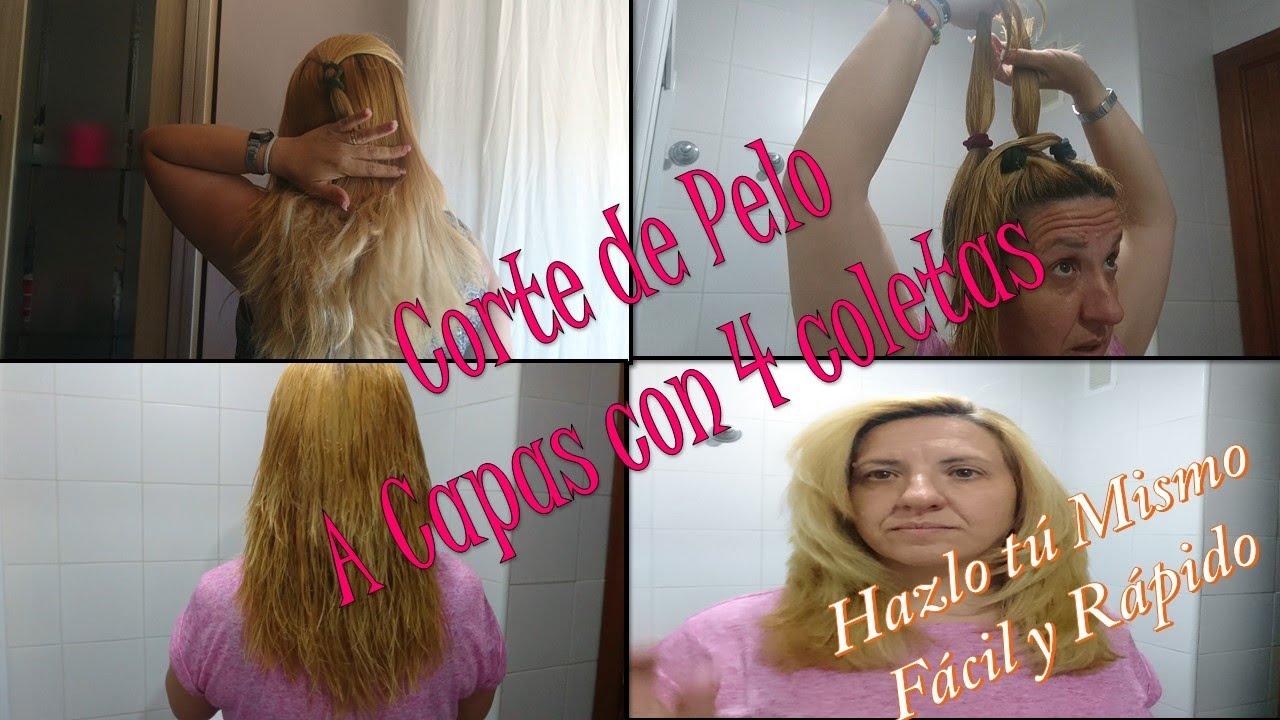 Corte de pelo a capas con coleta