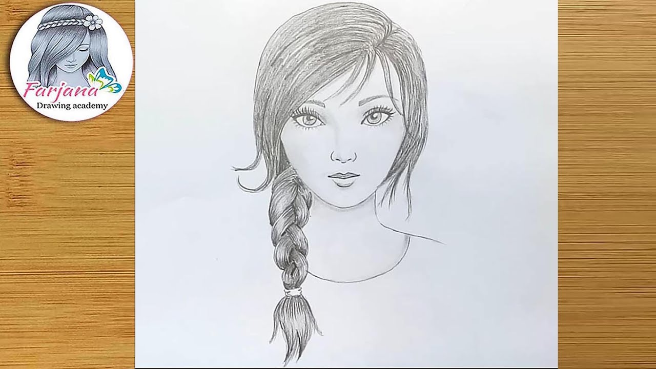 How to draw a girl face with pencil for beginners