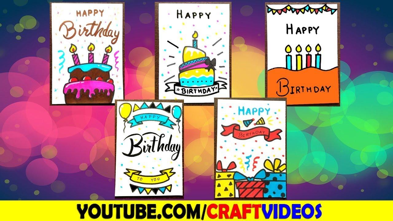 5 Easy Birthday Card Drawing Ideas Youtube