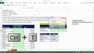 Excel Magic Trick 1149: Dynamically Sum by Category without VLOOKUP Helper Column (2 methods)