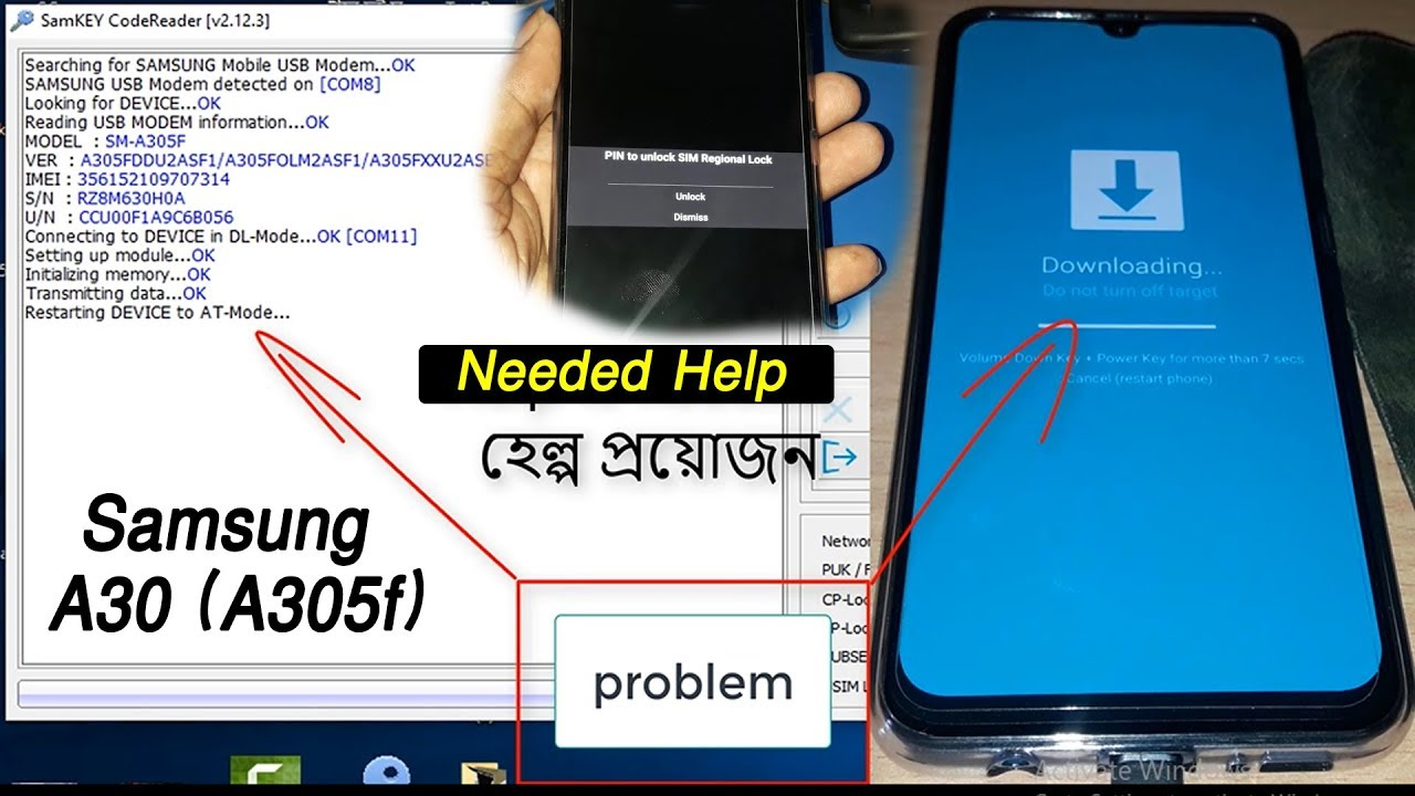 ( Needed Help ) PIN to SIM unlock SIM Rrgional Lock | Samsung A30 (A305f)  by samkey tool