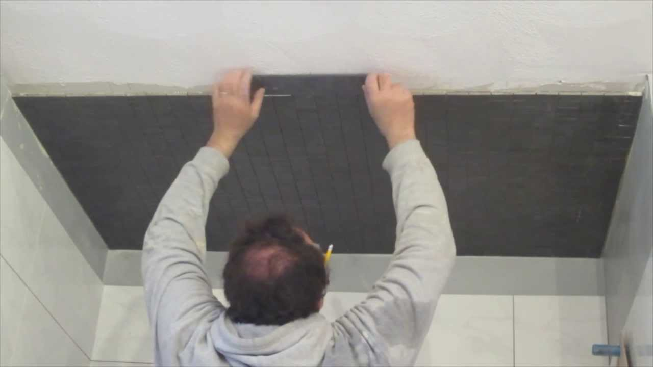 How to install mosaic tile on a ceiling - YouTube