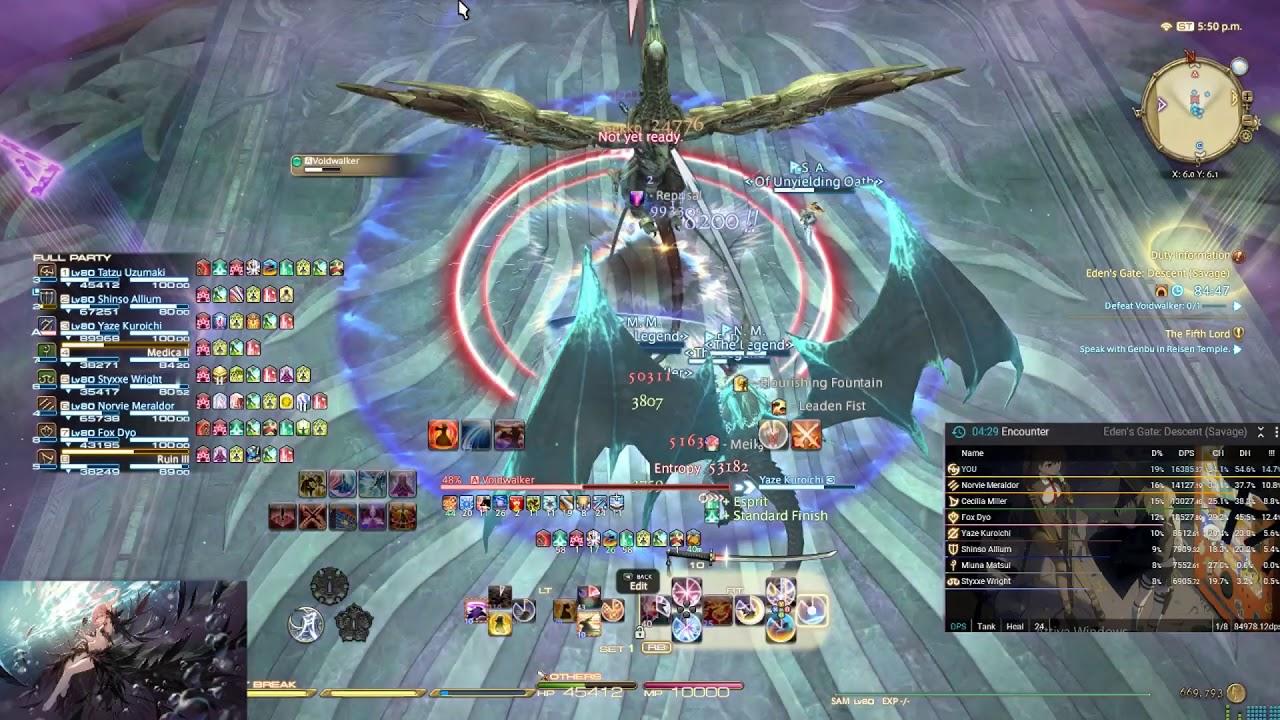 FFXIV - 5 05 - Eden Savage 2 - Samurai Pov (16100 Dps / 14250 Raid Dps)