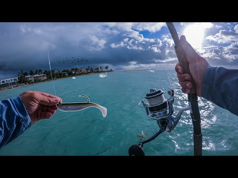 Fishing During A Feeding Frenzy In A Huge Inlet During A Storm