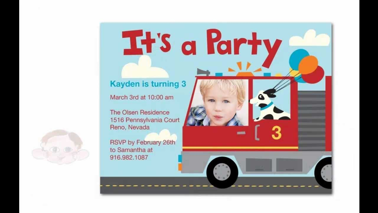 Unique Fire Truck Birthday Party Invitations For Your Little Fire ...