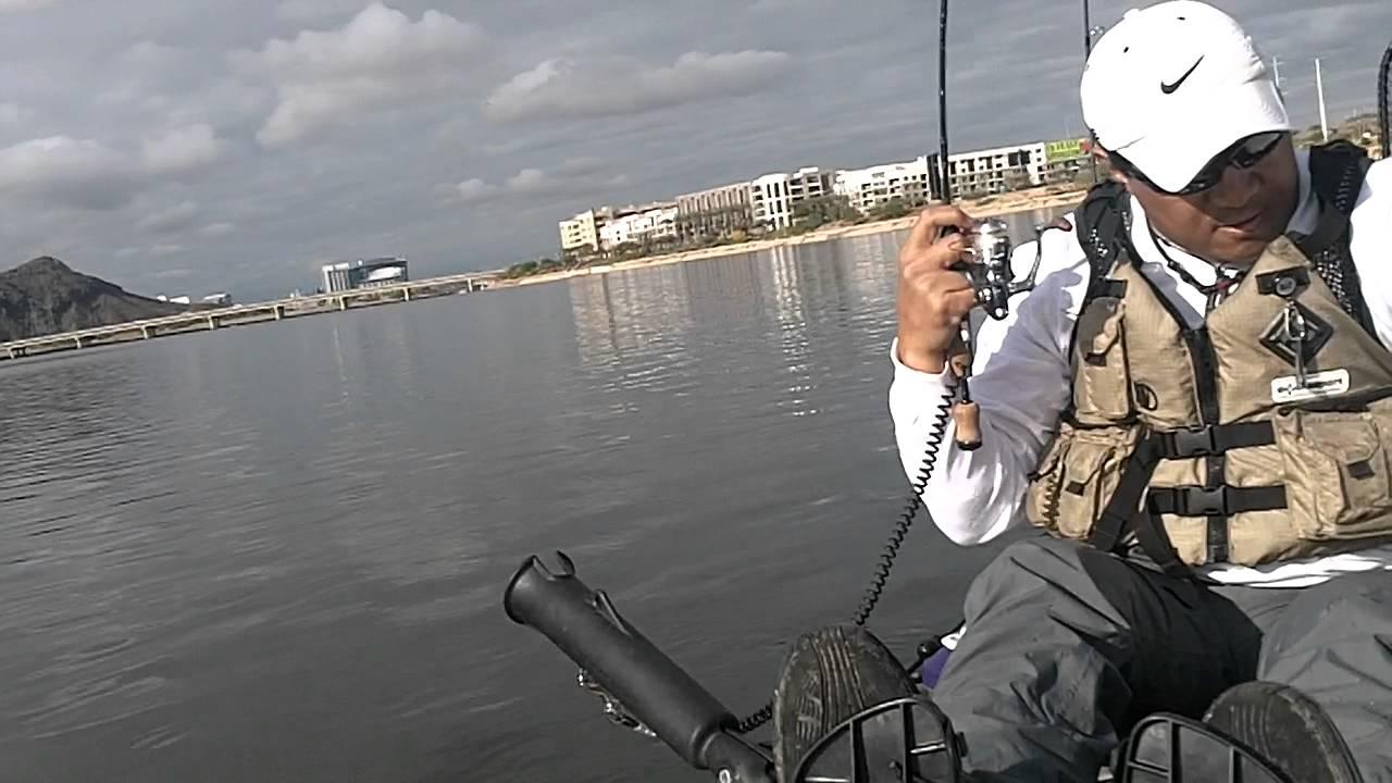 Kayak fishing for bass tempe town lake arizona 12 14 for Tempe town lake fishing