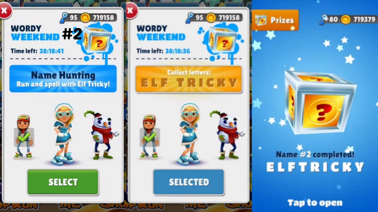 subway surfers winter holiday wordy weekend elf tricky game
