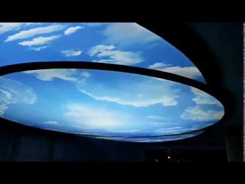 Large size blue sky printed , PVC stretch ceiling project.