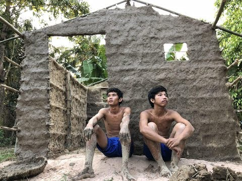 Primitive Technology: Building the Wall​ Home in Cambodia #4