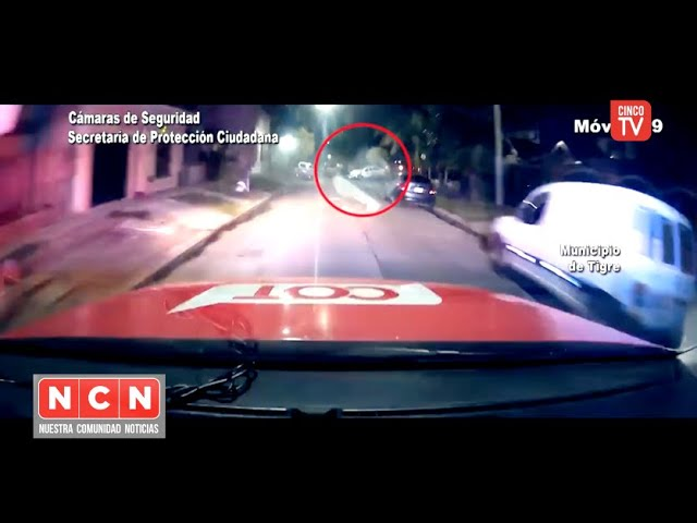 CINCO TV - Intentaron huir del COT con un auto robado y chocaron violentamente