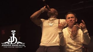"ON STAGE with Dababy; Johnny Dang delivers Diamond Boy Pendant at last show On ""Kirk"" Tour."