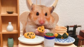 [English Subs] The cute hamster eats Japanese miniature food in the DIY Japanese-style room !