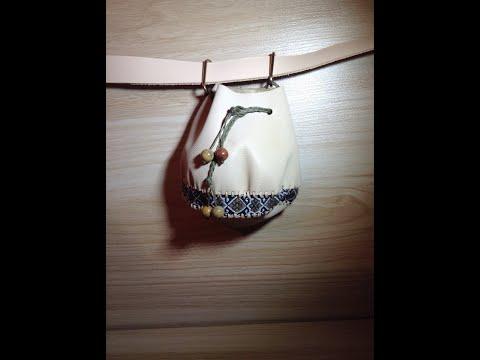 Кожаная подвесная сумочка - кисет - кошелек на пояс из мягкой кожи с тесьмой и натуральными бусинами