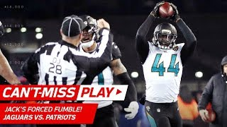 Pats Crazy Trick Play Ends w/ Myles Jack Forced Fumble! 🦄 | Can't-Miss Play | AFC Championship HLs