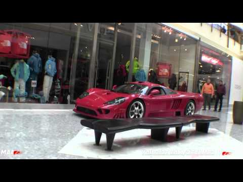 Driving a Saleen S7 Twin Turbo INSIDE a mall!!
