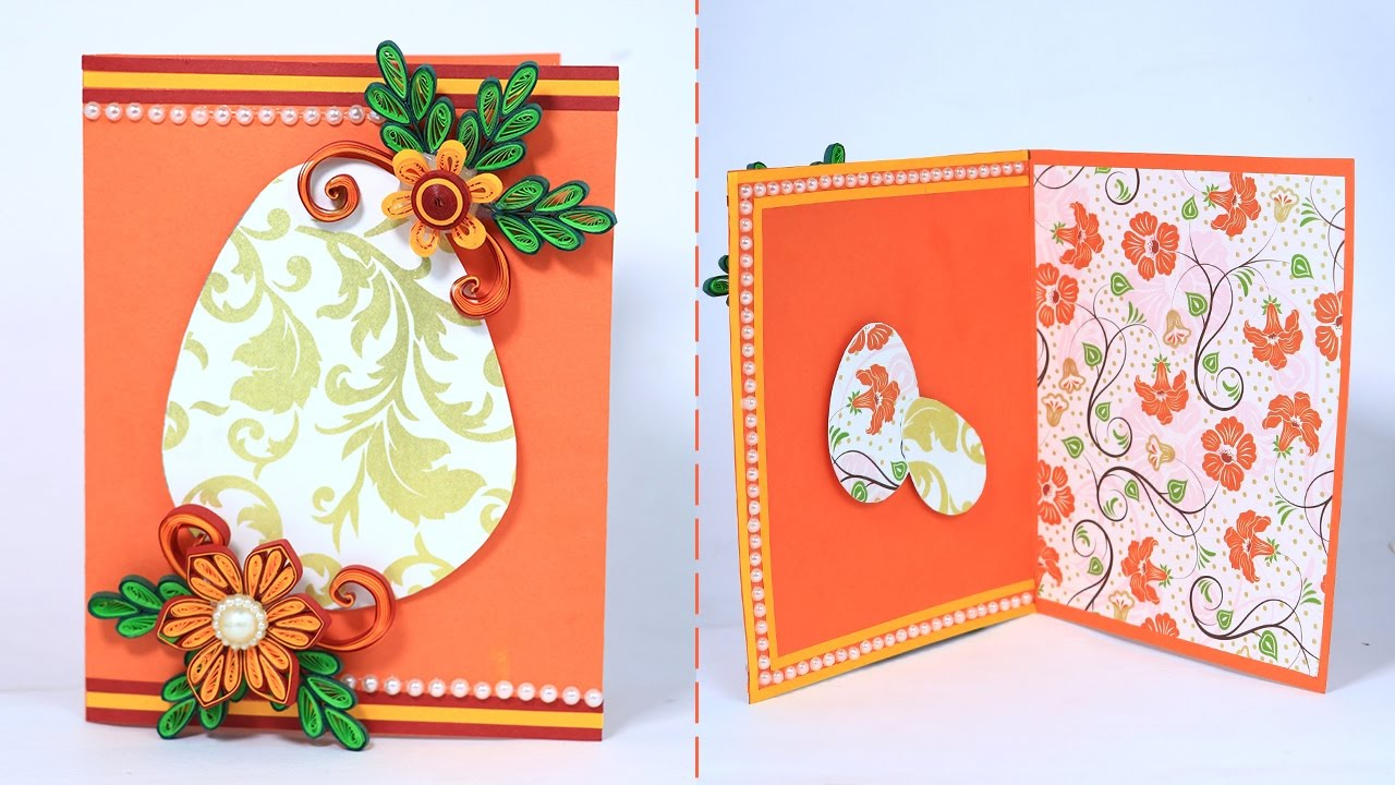 Quilling Easter Card Simple Handmade Greeting Card Making For