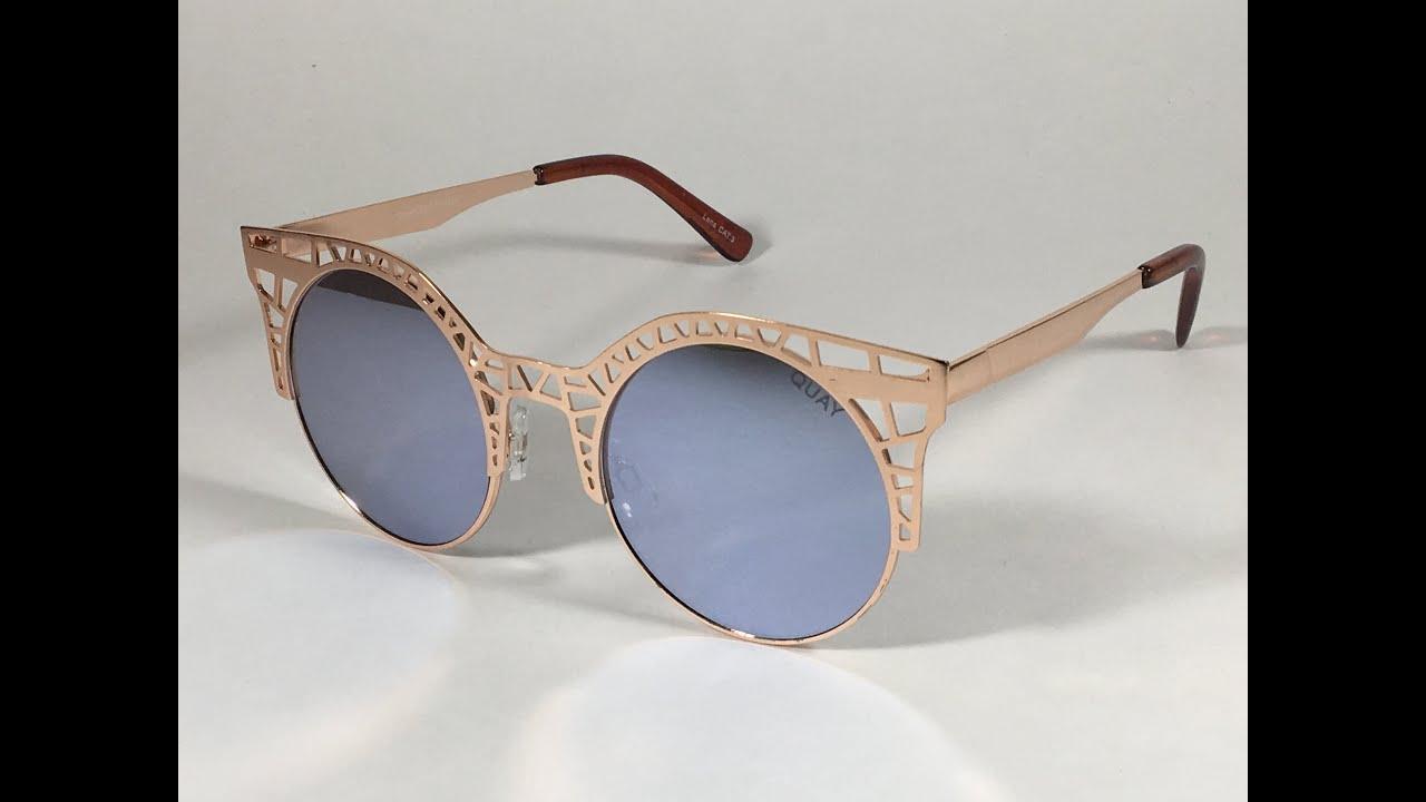 7f8b0b5a87 Quay Fleur Sunglasses Round Cat Eye Rose Gold Metal Frame Lilac Mirror  Lens. SunglassesFashion.Net