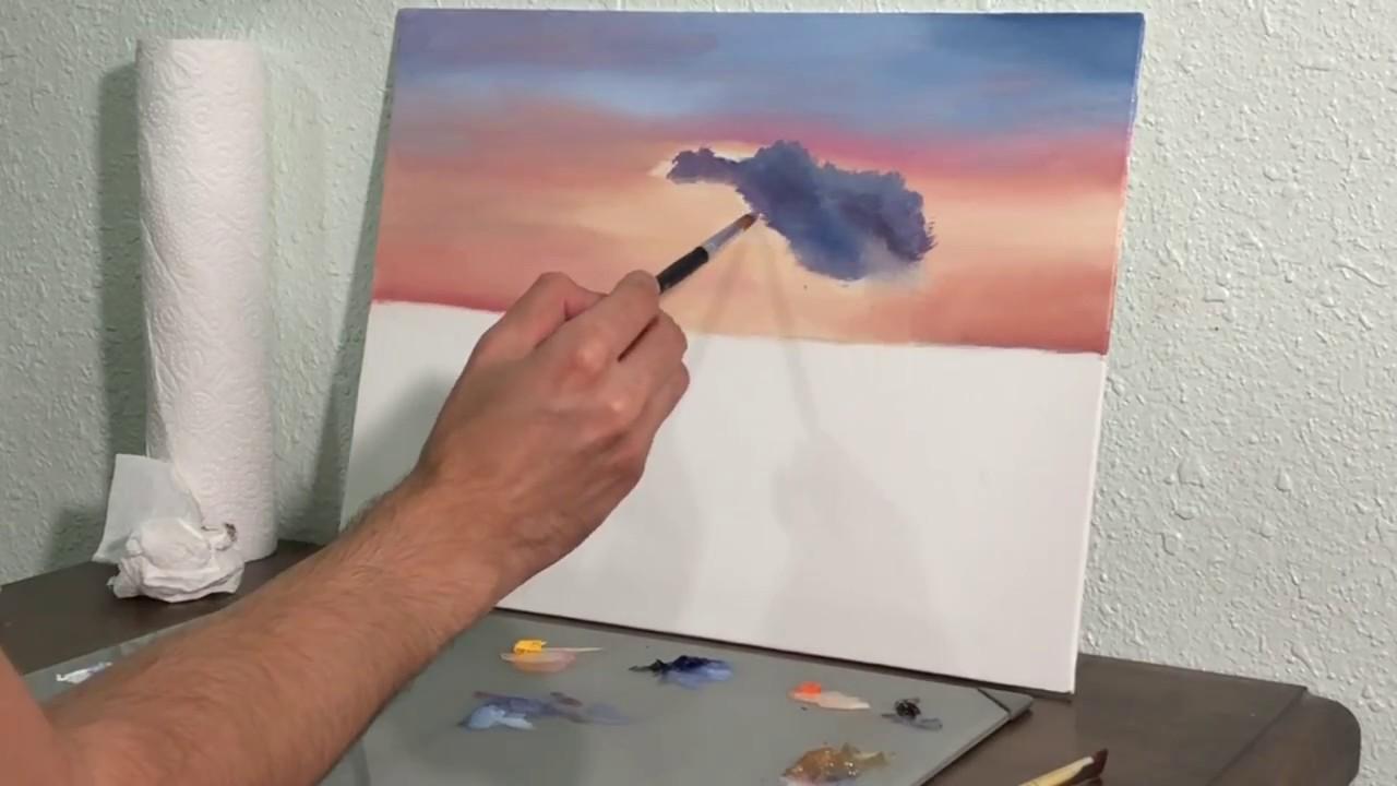 كيفية رسم البحر مع شرح خلط الألوان للمبتدئين بالألوان الزيتية ١ Youtube