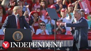 Nigel Farage praises Donald Trump during speech at Arizona rally