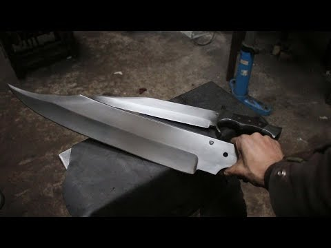 Forging a gigantic Bowie sword, part 1, forging the blade.