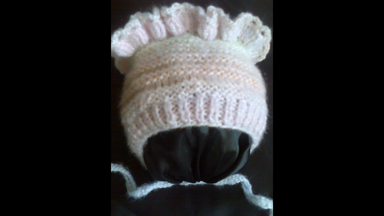 Детская шапочка (чепчик) вязание на спицах ч.1. Children ...
