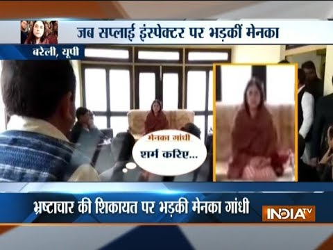 Watch: Maneka Gandhi abusing officer, accused of corruption, in UP