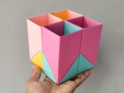Art and craft, paper work, paper craft, craft ideas for kids, How to make easy Pen box/Stand
