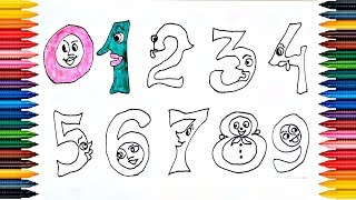 Drawing Numbers 123456789 How to Draw and Paint Numbers - Coloring Book for Kids - Video for Kids