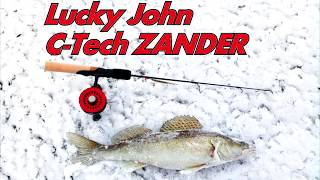 Испытания зимнего удилища Lucky John C-Tech ZANDER. Поклевка судака.