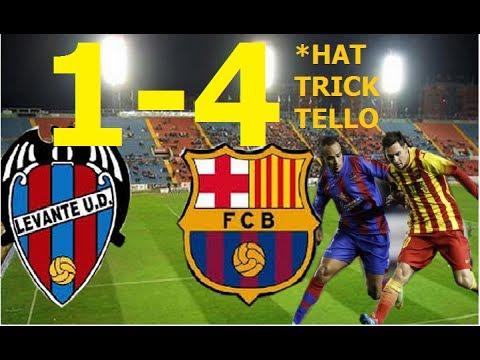 Levante vs Barcelona 1-4   HAT-TRICK de TELLO  #MESSI 400  22/01/2014   Ida copa del rey