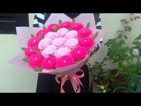 How to Make Felt Bouquet using Funnel | Membuat Buket Bunga Flanel Menggunakan Corong